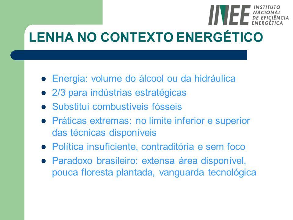 LENHA NO CONTEXTO ENERGÉTICO Energia: volume do álcool ou da hidráulica 2/3 para indústrias estratégicas Substitui combustíveis fósseis Práticas extre