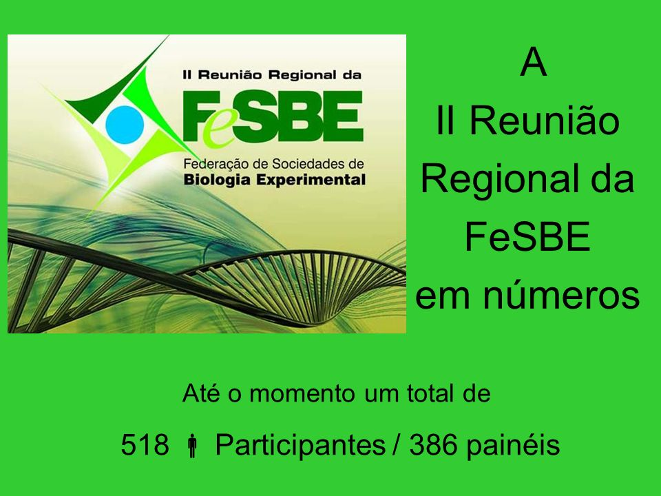 A II Reunião Regional da FeSBE em números Até o momento um total de 518 Participantes / 386 painéis