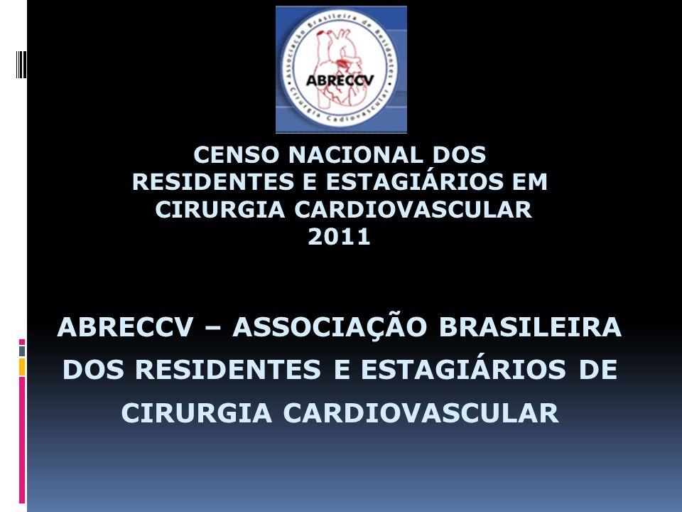 CENSO NACIONAL DOS RESIDENTES E ESTAGIÁRIOS EM CIRURGIA CARDIOVASCULAR 2011 ABRECCV – ASSOCIAÇÃO BRASILEIRA DOS RESIDENTES E ESTAGIÁRIOS DE CIRURGIA CARDIOVASCULAR
