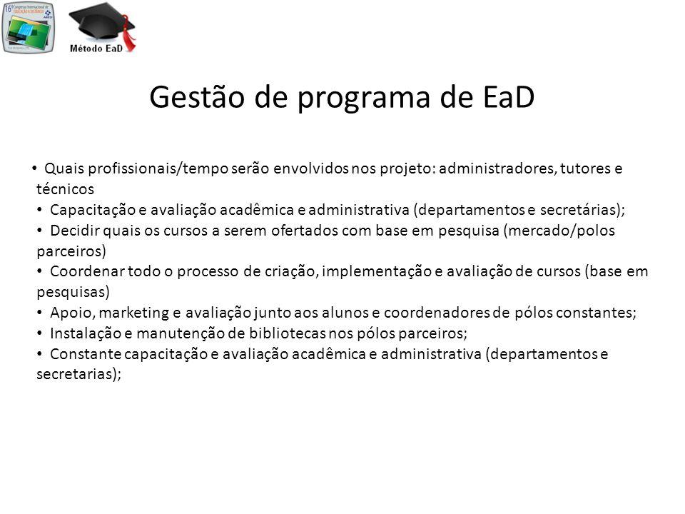 Gestão de programa de EaD Quais profissionais/tempo serão envolvidos nos projeto: administradores, tutores e técnicos Capacitação e avaliação acadêmic