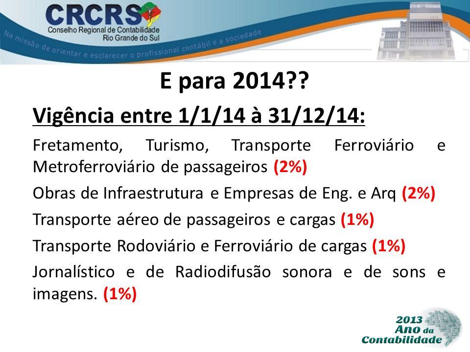 E para 2014?? Vigência entre 1/1/14 à 31/12/14: Fretamento, Turismo, Transporte Ferroviário e Metroferroviário de passageiros (2%) Obras de Infraestru