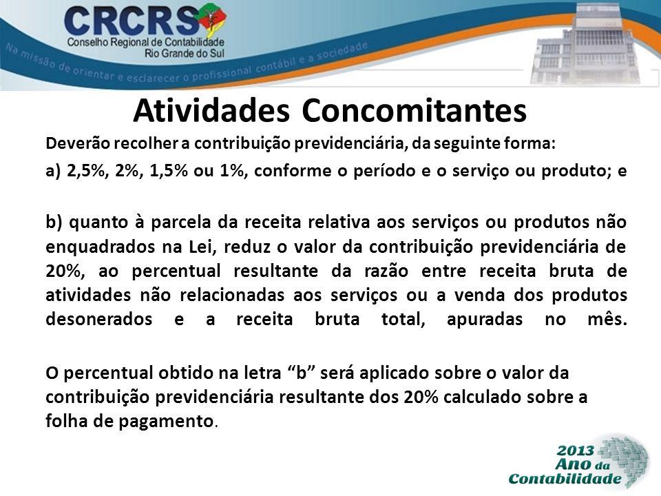Atividades Concomitantes Deverão recolher a contribuição previdenciária, da seguinte forma: a) 2,5%, 2%, 1,5% ou 1%, conforme o período e o serviço ou