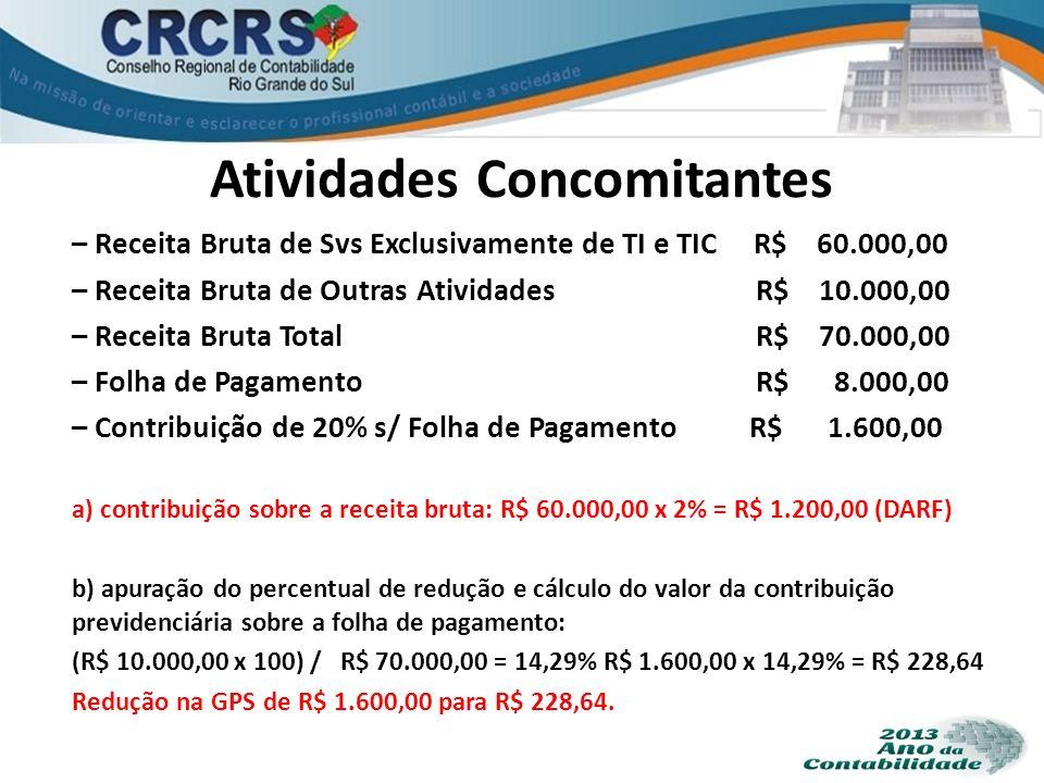 Atividades Concomitantes – Receita Bruta de Svs Exclusivamente de TI e TIC R$ 60.000,00 – Receita Bruta de Outras Atividades R$ 10.000,00 – Receita Br