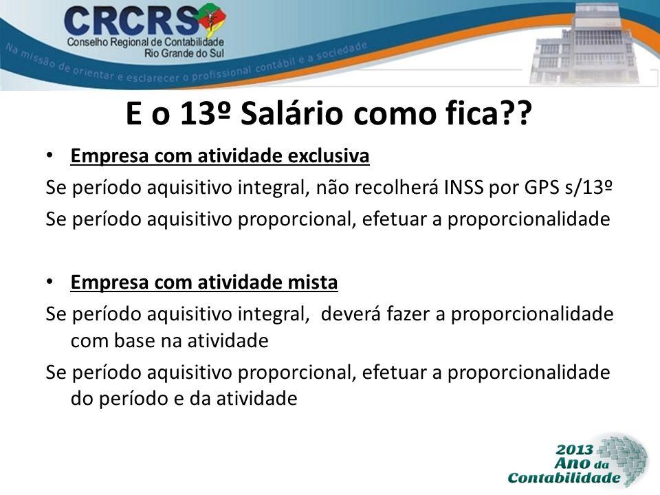 E o 13º Salário como fica?? Empresa com atividade exclusiva Se período aquisitivo integral, não recolherá INSS por GPS s/13º Se período aquisitivo pro