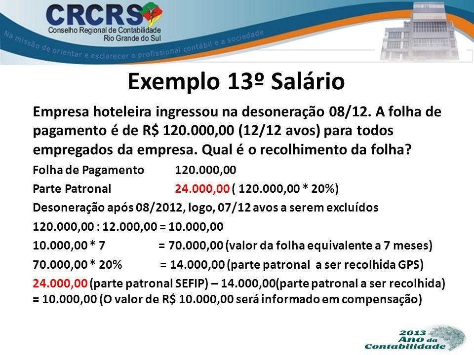 Exemplo 13º Salário Empresa hoteleira ingressou na desoneração 08/12. A folha de pagamento é de R$ 120.000,00 (12/12 avos) para todos empregados da em