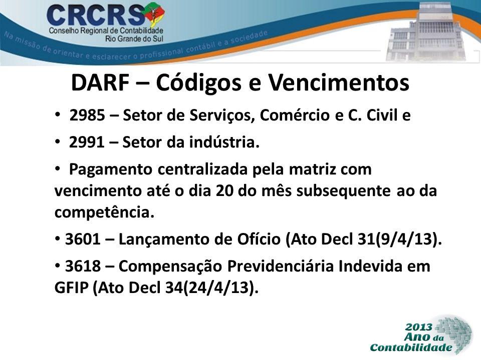 DARF – Códigos e Vencimentos 2985 – Setor de Serviços, Comércio e C. Civil e 2991 – Setor da indústria. Pagamento centralizada pela matriz com vencime