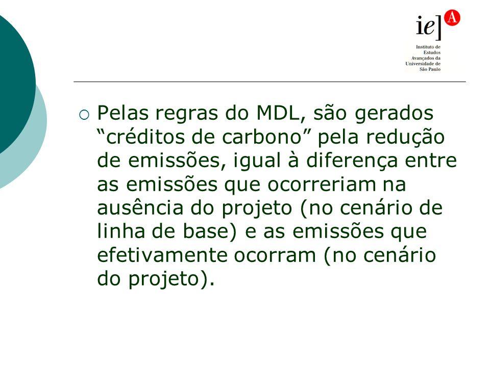 Pelas regras do MDL, são gerados créditos de carbono pela redução de emissões, igual à diferença entre as emissões que ocorreriam na ausência do projeto (no cenário de linha de base) e as emissões que efetivamente ocorram (no cenário do projeto).