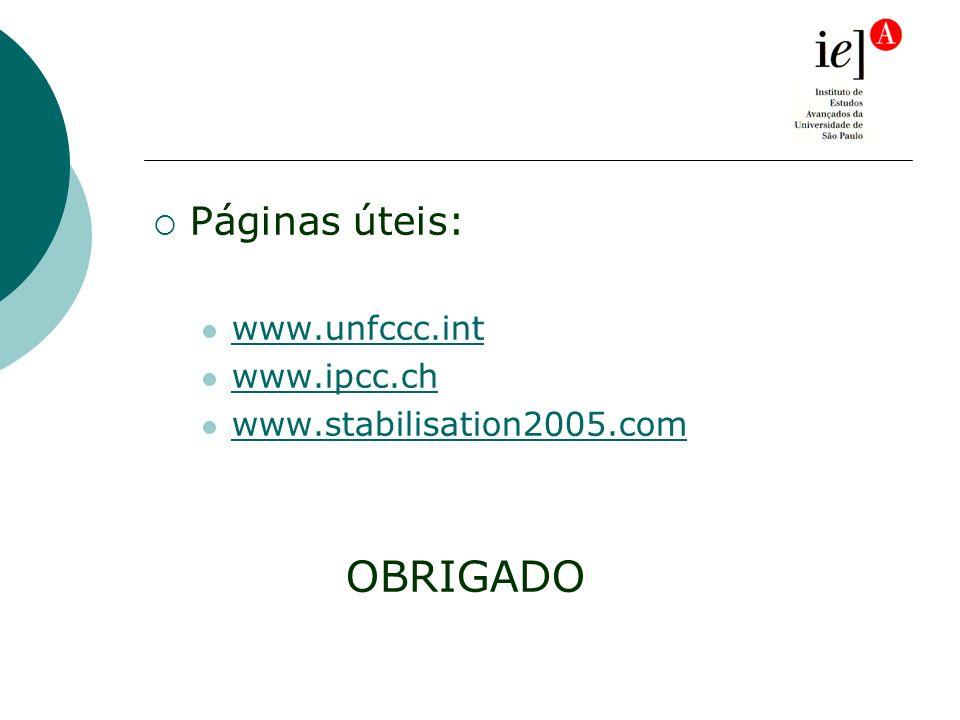 Páginas úteis: www.unfccc.int www.ipcc.ch www.stabilisation2005.com OBRIGADO