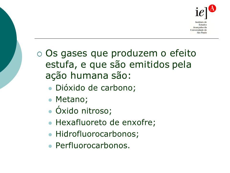 Os gases que produzem o efeito estufa, e que são emitidos pela ação humana são: Dióxido de carbono; Metano; Óxido nitroso; Hexafluoreto de enxofre; Hidrofluorocarbonos; Perfluorocarbonos.