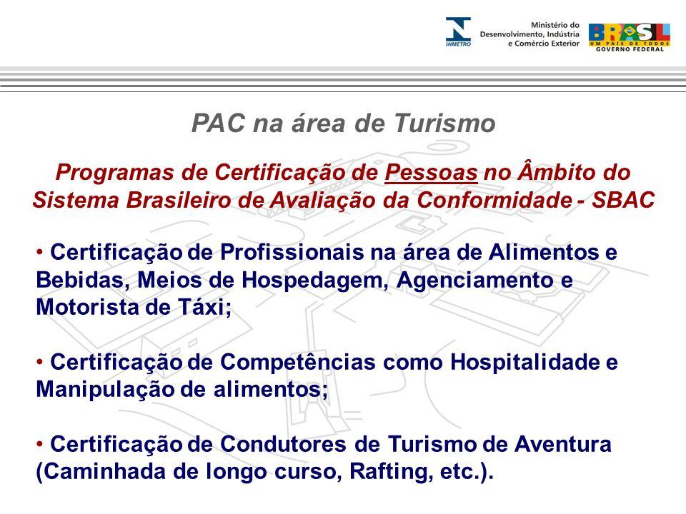 Programas de Certificação de Sistemas de Gestão no Âmbito do Sistema Brasileiro de Avaliação da Conformidade - SBAC Sistema de Gestão da Segurança em Turismo de Aventura; Sistema de Gestão da Sustentabilidade dos Meios de Hospedagem.