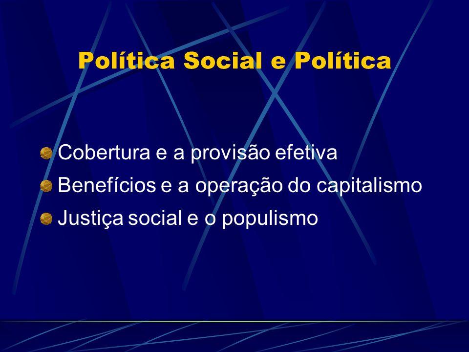 Política Social e Política Cobertura e a provisão efetiva Benefícios e a operação do capitalismo Justiça social e o populismo
