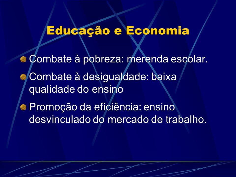 Educação e Economia Combate à pobreza: merenda escolar. Combate à desigualdade: baixa qualidade do ensino Promoção da eficiência: ensino desvinculado