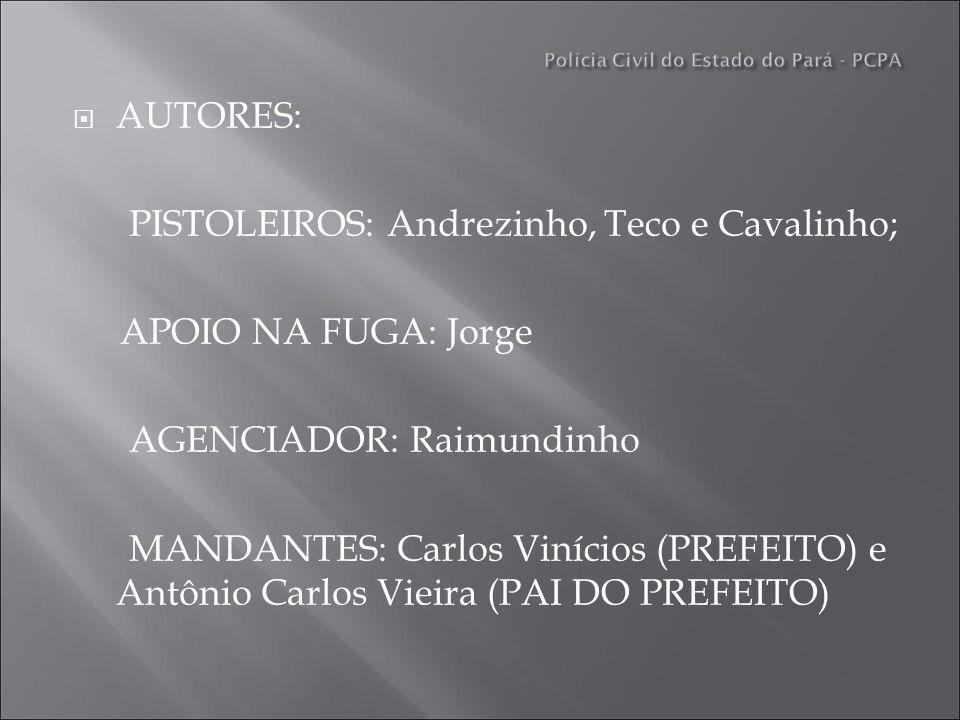 AUTORES: PISTOLEIROS: Andrezinho, Teco e Cavalinho; APOIO NA FUGA: Jorge AGENCIADOR: Raimundinho MANDANTES: Carlos Vinícios (PREFEITO) e Antônio Carlos Vieira (PAI DO PREFEITO)