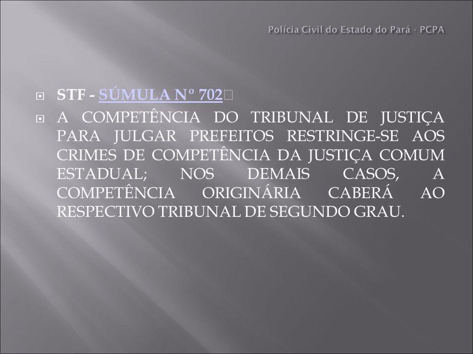 STF - SÚMULA Nº 702 SÚMULA Nº 702 A COMPETÊNCIA DO TRIBUNAL DE JUSTIÇA PARA JULGAR PREFEITOS RESTRINGE-SE AOS CRIMES DE COMPETÊNCIA DA JUSTIÇA COMUM ESTADUAL; NOS DEMAIS CASOS, A COMPETÊNCIA ORIGINÁRIA CABERÁ AO RESPECTIVO TRIBUNAL DE SEGUNDO GRAU.