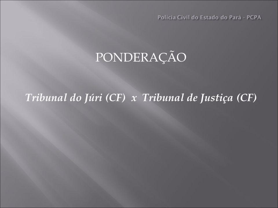 PONDERAÇÃO Tribunal do Júri (CF) x Tribunal de Justiça (CF)