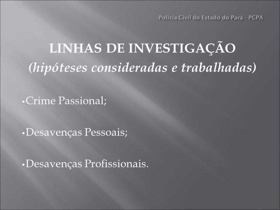 LINHAS DE INVESTIGAÇÃO (hipóteses consideradas e trabalhadas) Crime Passional; Desavenças Pessoais; Desavenças Profissionais.