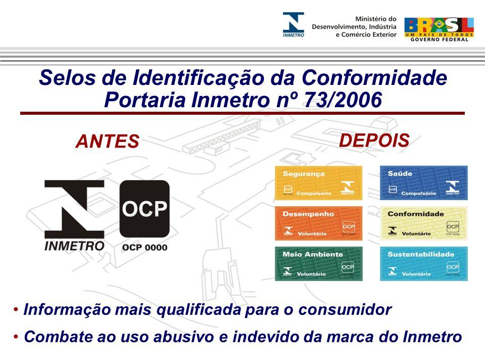 Selos de Identificação da Conformidade Portaria Inmetro nº 73/2006 Informação mais qualificada para o consumidor Combate ao uso abusivo e indevido da