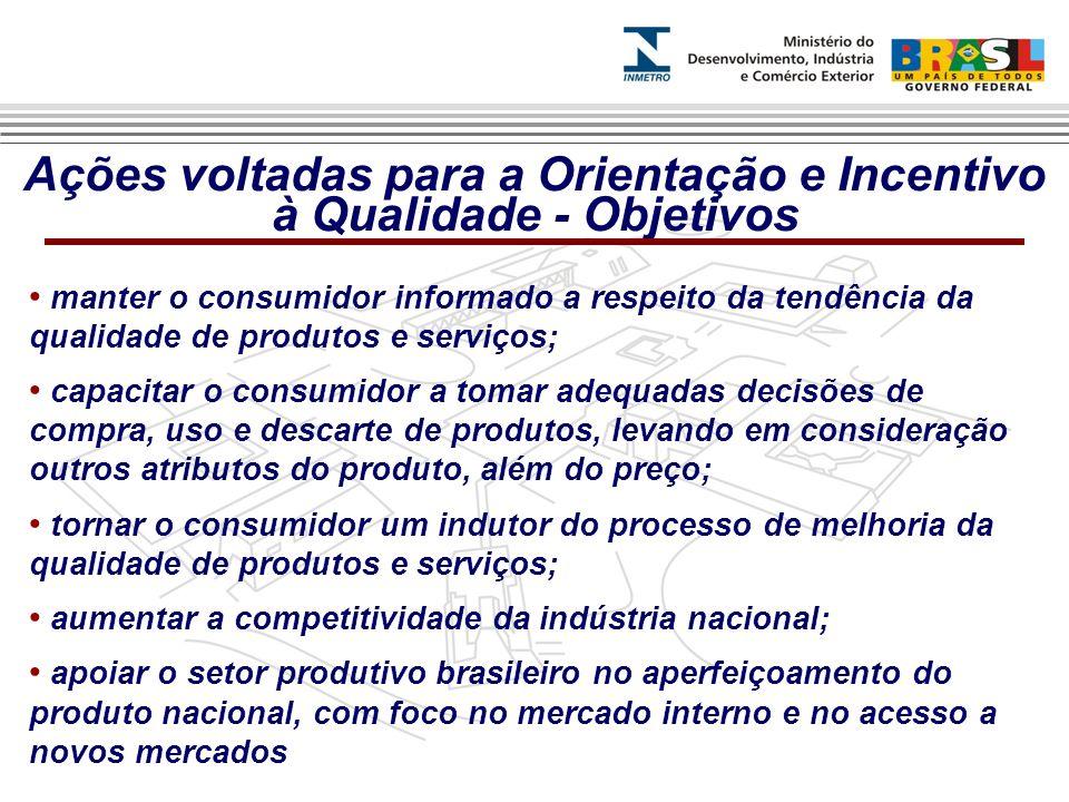 Ações voltadas para a Orientação e Incentivo à Qualidade - Objetivos manter o consumidor informado a respeito da tendência da qualidade de produtos e