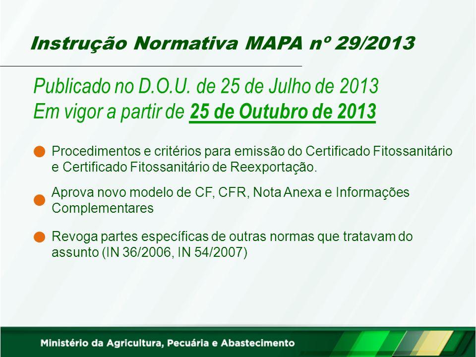 Instrução Normativa MAPA nº 29/2013 Publicado no D.O.U.