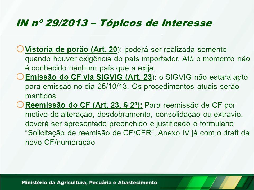 IN nº 29/2013 – Tópicos de interesse o Vistoria de porão (Art.