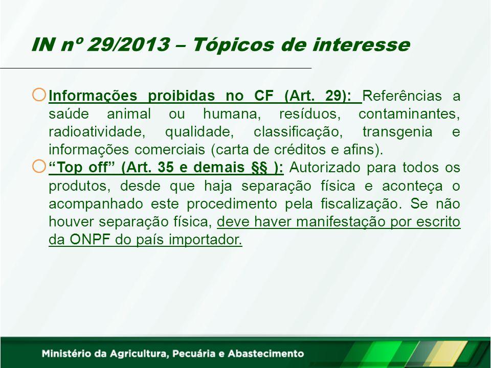 IN nº 29/2013 – Tópicos de interesse o Informações proibidas no CF (Art.