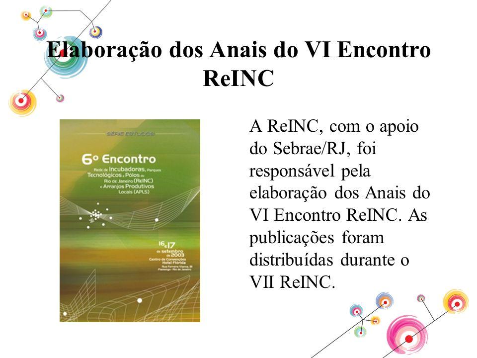Elaboração dos Anais do VI Encontro ReINC A ReINC, com o apoio do Sebrae/RJ, foi responsável pela elaboração dos Anais do VI Encontro ReINC. As public