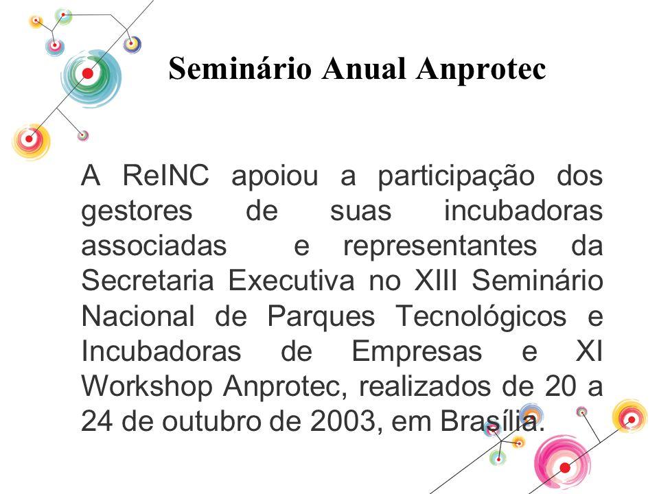 Seminário Anual Anprotec A ReINC apoiou a participação dos gestores de suas incubadoras associadas e representantes da Secretaria Executiva no XIII Se