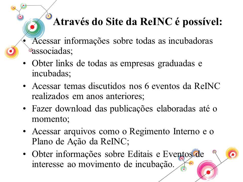 Através do Site da ReINC é possível: Acessar informações sobre todas as incubadoras associadas; Obter links de todas as empresas graduadas e incubadas
