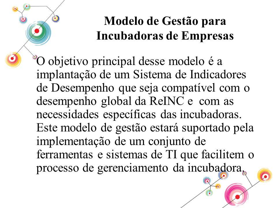 Modelo de Gestão para Incubadoras de Empresas O objetivo principal desse modelo é a implantação de um Sistema de Indicadores de Desempenho que seja co
