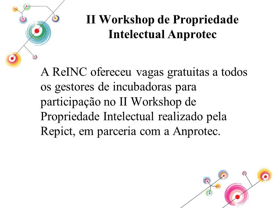 II Workshop de Propriedade Intelectual Anprotec A ReINC ofereceu vagas gratuitas a todos os gestores de incubadoras para participação no II Workshop d