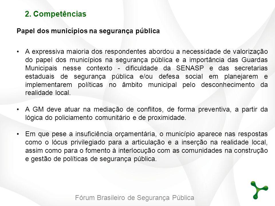 Fórum Brasileiro de Segurança Pública 2. Competências Papel dos municípios na segurança pública A expressiva maioria dos respondentes abordou a necess