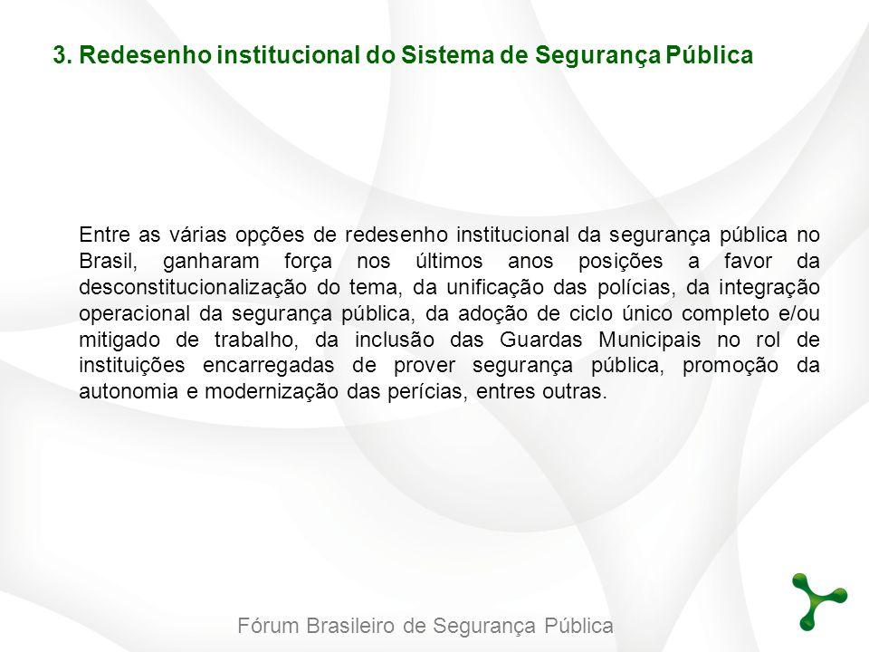 Fórum Brasileiro de Segurança Pública Entre as várias opções de redesenho institucional da segurança pública no Brasil, ganharam força nos últimos ano