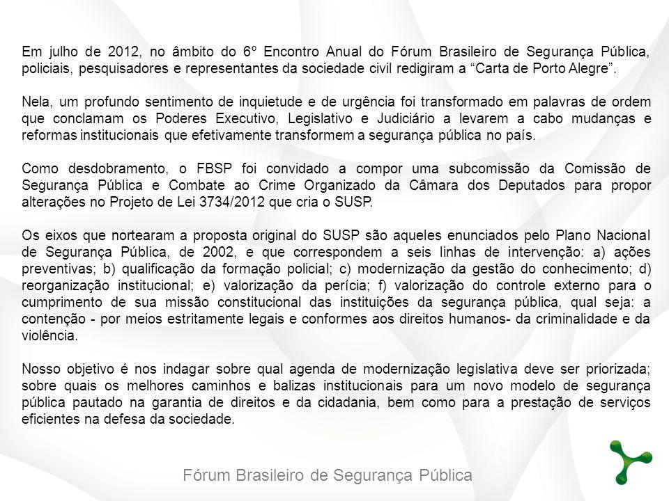 Fórum Brasileiro de Segurança Pública Em julho de 2012, no âmbito do 6º Encontro Anual do Fórum Brasileiro de Segurança Pública, policiais, pesquisado