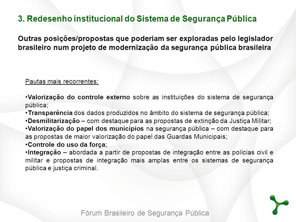 Fórum Brasileiro de Segurança Pública 3. Redesenho institucional do Sistema de Segurança Pública Outras posições/propostas que poderiam ser exploradas