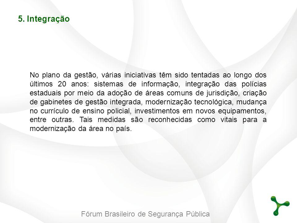 Fórum Brasileiro de Segurança Pública 5. Integração No plano da gestão, várias iniciativas têm sido tentadas ao longo dos últimos 20 anos: sistemas de