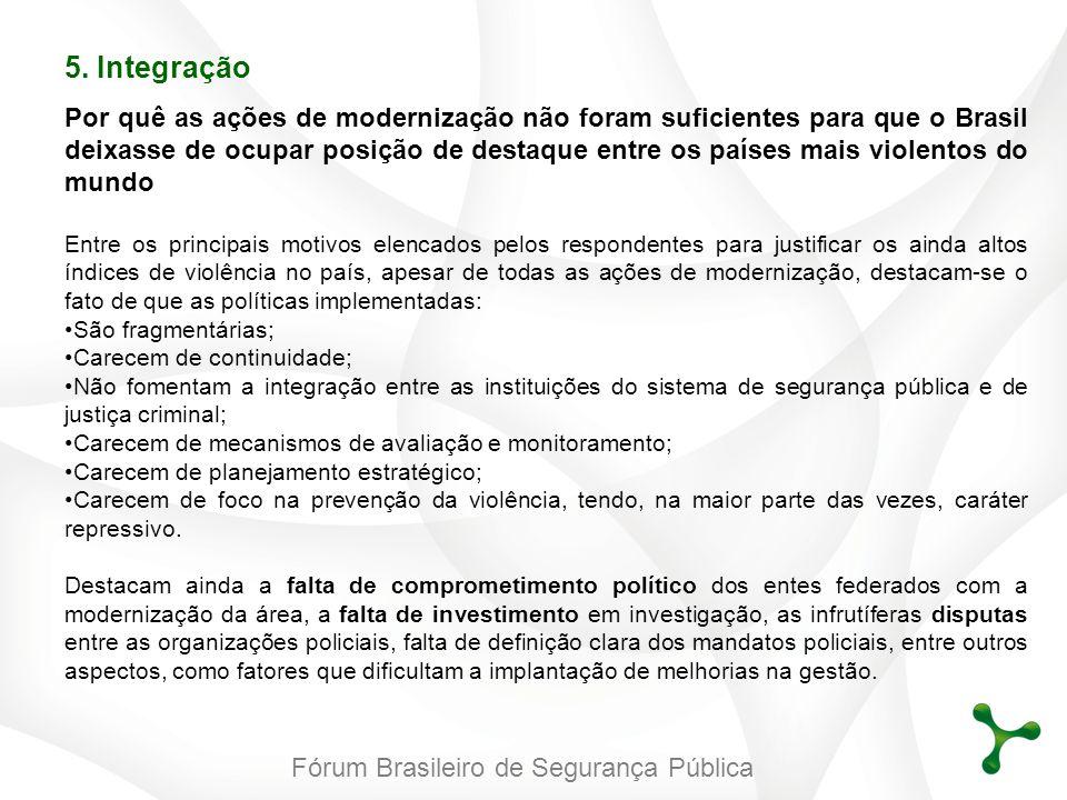 Fórum Brasileiro de Segurança Pública 5. Integração Por quê as ações de modernização não foram suficientes para que o Brasil deixasse de ocupar posiçã