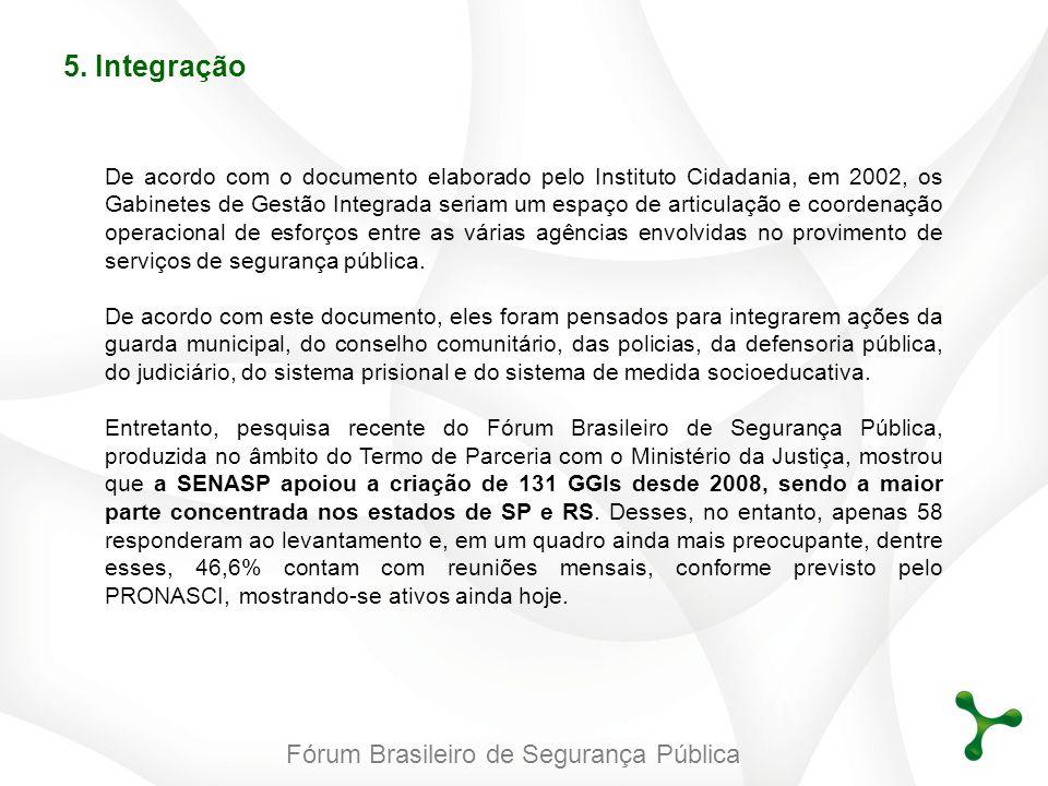 Fórum Brasileiro de Segurança Pública 5. Integração De acordo com o documento elaborado pelo Instituto Cidadania, em 2002, os Gabinetes de Gestão Inte