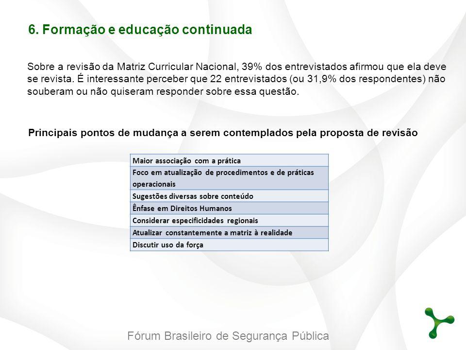 Fórum Brasileiro de Segurança Pública 6. Formação e educação continuada Sobre a revisão da Matriz Curricular Nacional, 39% dos entrevistados afirmou q