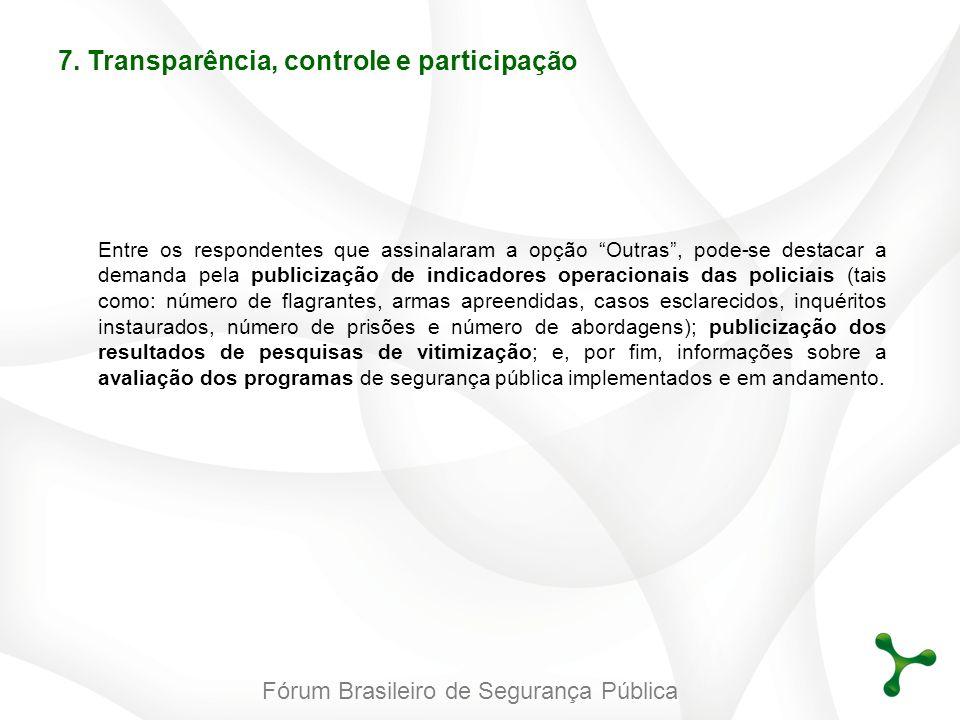 Fórum Brasileiro de Segurança Pública Entre os respondentes que assinalaram a opção Outras, pode-se destacar a demanda pela publicização de indicadore
