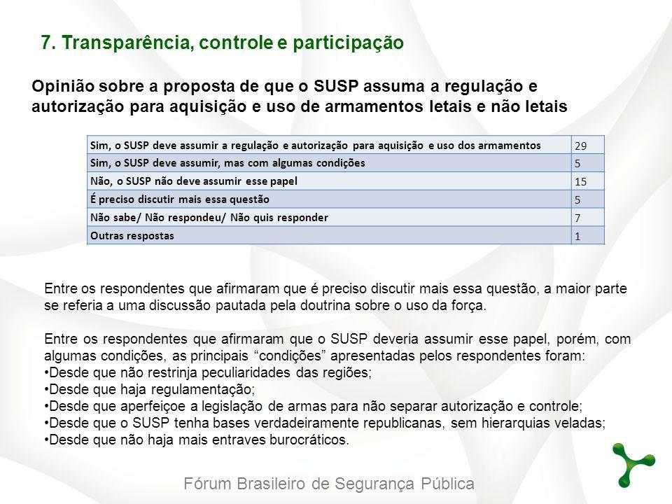 Fórum Brasileiro de Segurança Pública Opinião sobre a proposta de que o SUSP assuma a regulação e autorização para aquisição e uso de armamentos letai