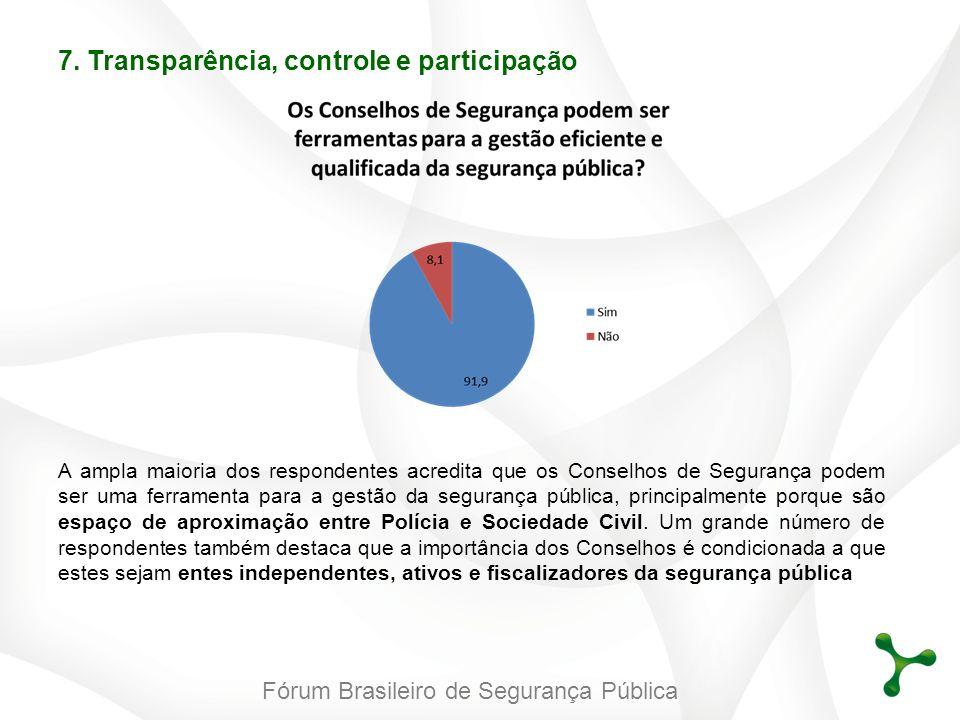Fórum Brasileiro de Segurança Pública A ampla maioria dos respondentes acredita que os Conselhos de Segurança podem ser uma ferramenta para a gestão d