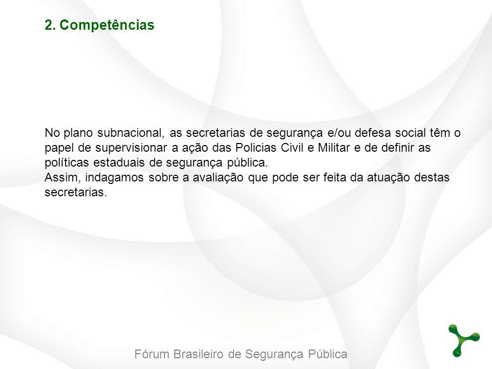 Fórum Brasileiro de Segurança Pública 2. Competências No plano subnacional, as secretarias de segurança e/ou defesa social têm o papel de supervisiona