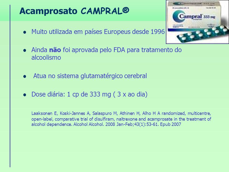 Acamprosato CAMPRAL® Muito utilizada em países Europeus desde 1996 Ainda não foi aprovada pelo FDA para tratamento do alcoolismo Atua no sistema gluta