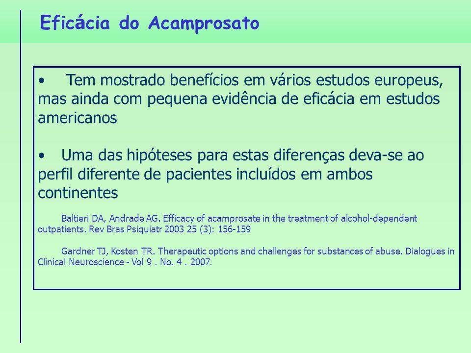 Efic á cia do Acamprosato Tem mostrado benefícios em vários estudos europeus, mas ainda com pequena evidência de eficácia em estudos americanos Uma da