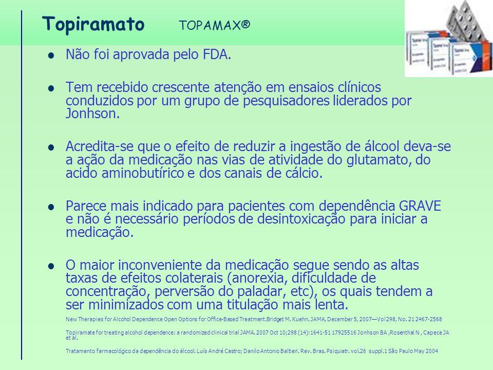 Topiramato Não foi aprovada pelo FDA. Tem recebido crescente atenção em ensaios clínicos conduzidos por um grupo de pesquisadores liderados por Jonhso