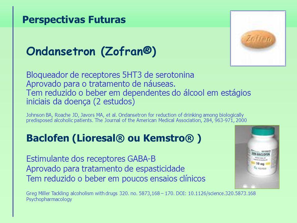 Ondansetron (Zofran®) Bloqueador de receptores 5HT3 de serotonina Aprovado para o tratamento de náuseas. Tem reduzido o beber em dependentes do álcool