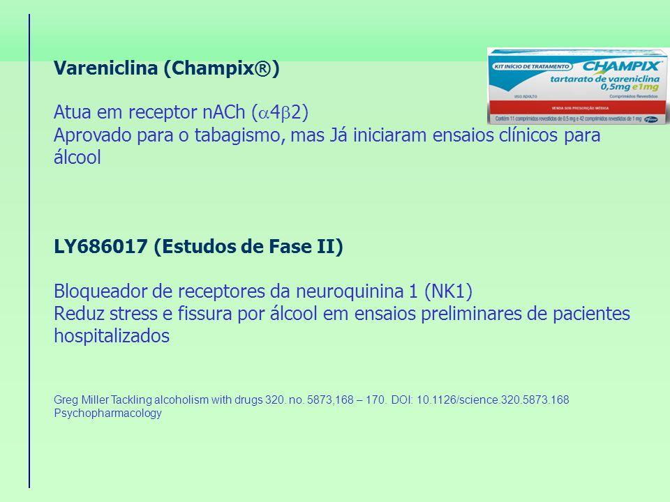 Vareniclina (Champix®) Atua em receptor nACh ( 4 2) Aprovado para o tabagismo, mas Já iniciaram ensaios clínicos para álcool LY686017 (Estudos de Fase