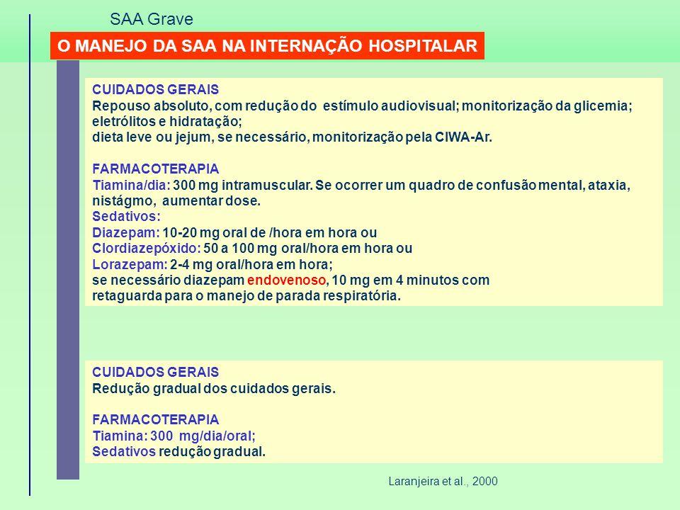 O MANEJO DA SAA NA INTERNAÇÃO HOSPITALAR CUIDADOS GERAIS Repouso absoluto, com redução do estímulo audiovisual; monitorização da glicemia; eletrólitos