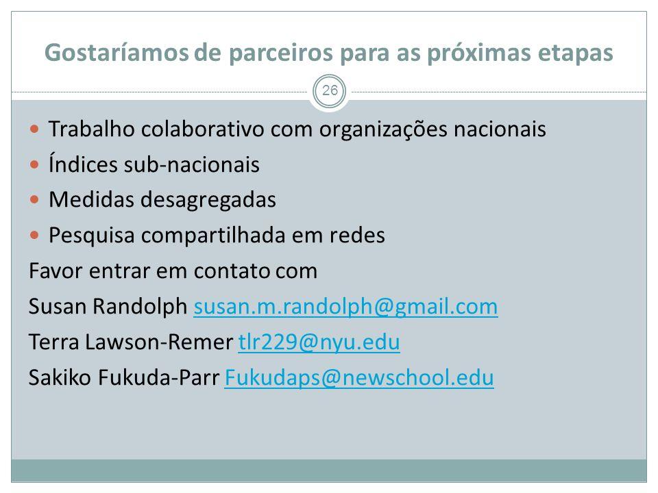 Gostaríamos de parceiros para as próximas etapas 26 Trabalho colaborativo com organizações nacionais Índices sub-nacionais Medidas desagregadas Pesquisa compartilhada em redes Favor entrar em contato com Susan Randolph susan.m.randolph@gmail.comsusan.m.randolph@gmail.com Terra Lawson-Remer tlr229@nyu.edutlr229@nyu.edu Sakiko Fukuda-Parr Fukudaps@newschool.eduFukudaps@newschool.edu