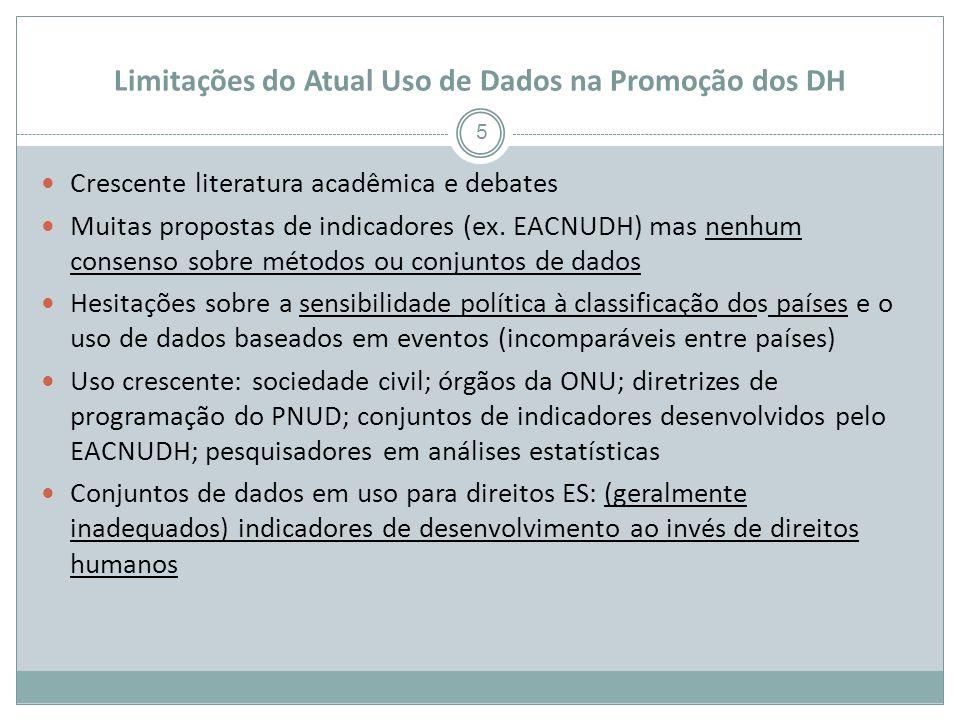 Limitações do Atual Uso de Dados na Promoção dos DH 5 Crescente literatura acadêmica e debates Muitas propostas de indicadores (ex.